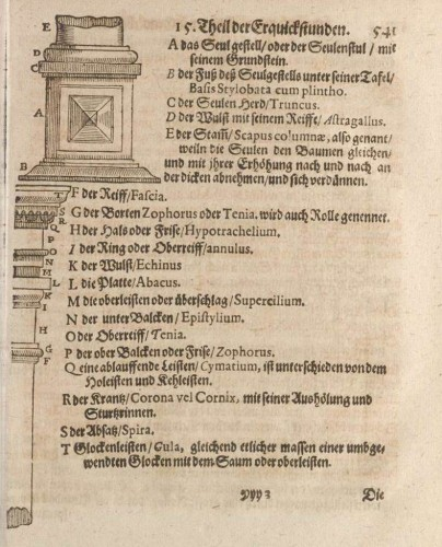 """Alle Theile der Seulen Teutsche nennen"" (Deliciae, II, p.541)"